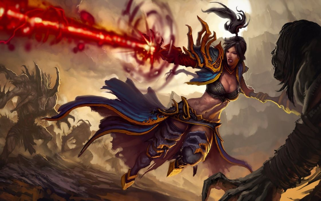 Diablo 3 fantasy warrior magic art wallpaper