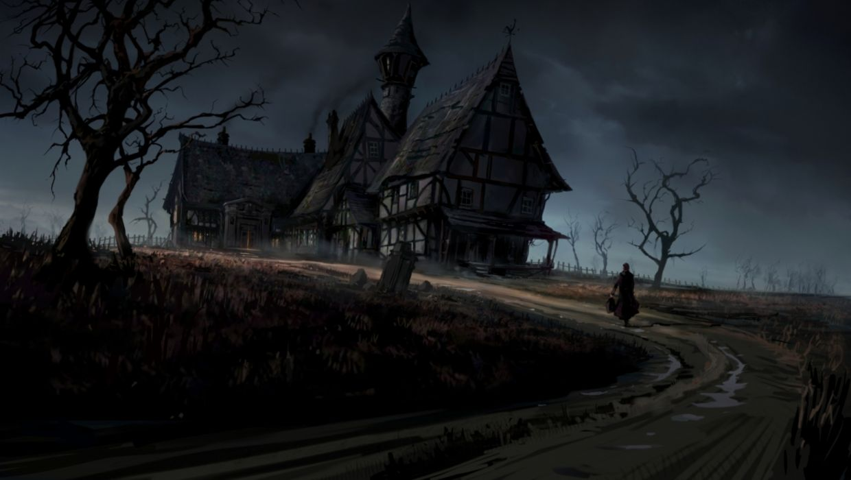 394 Best The Evil Within Images On Pinterest: Dark Haunted Horror Gothic House Storm Rain Art Wallpaper