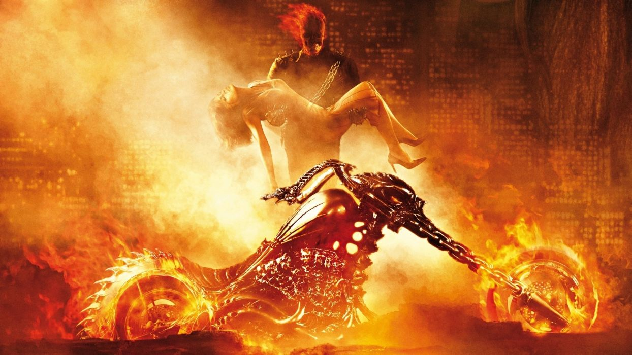 ghost rider dark comics games evil fire love romance chopper motorcycles art skull demon wallpaper