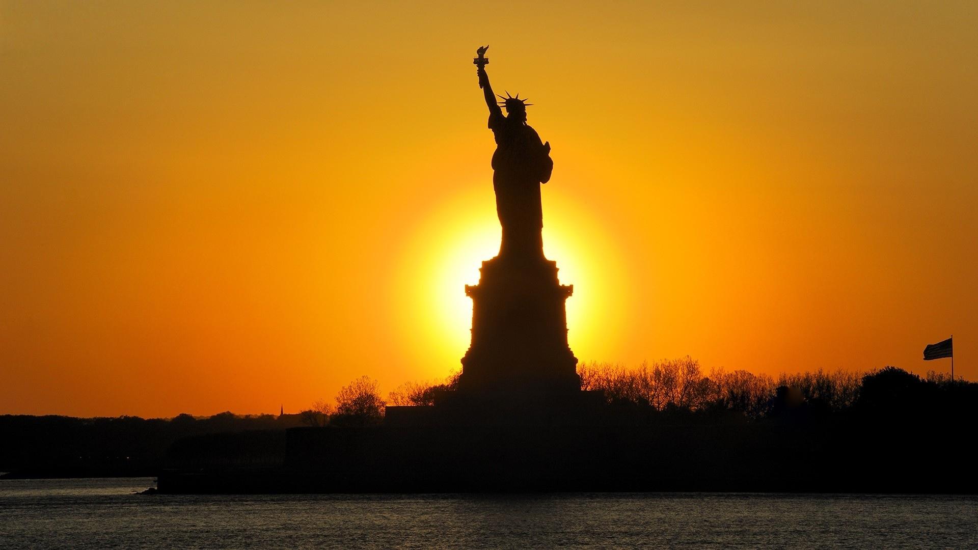 New York City Statue Of Liberty Statue Usa Sunset Sunrise Wallpaper 1920x1080 28766 Wallpaperup