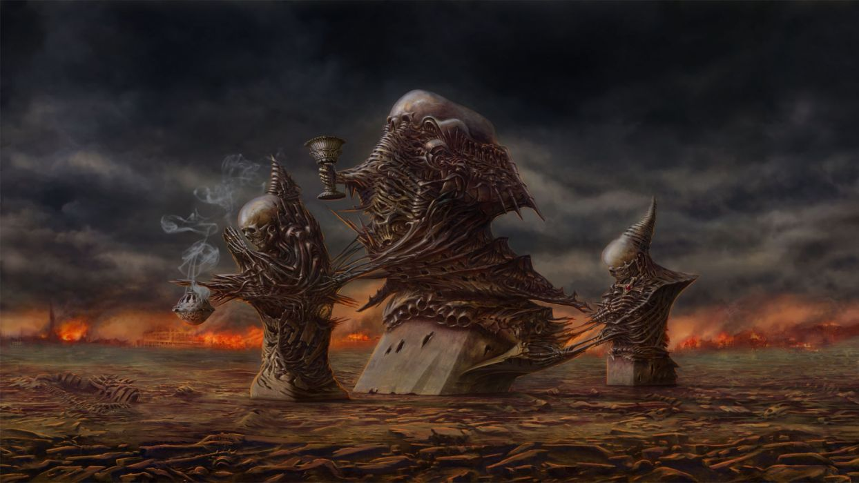 dark horror evil occult demons skull fire art wallpaper