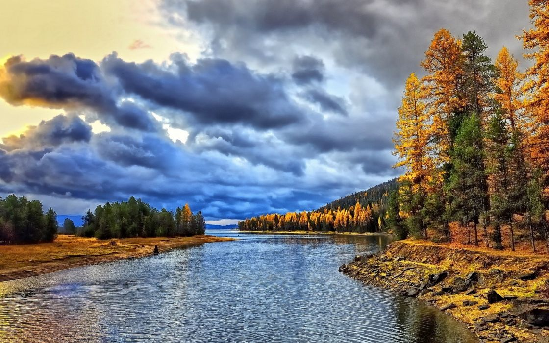landscapes trees fall autumn hdr wallpaper