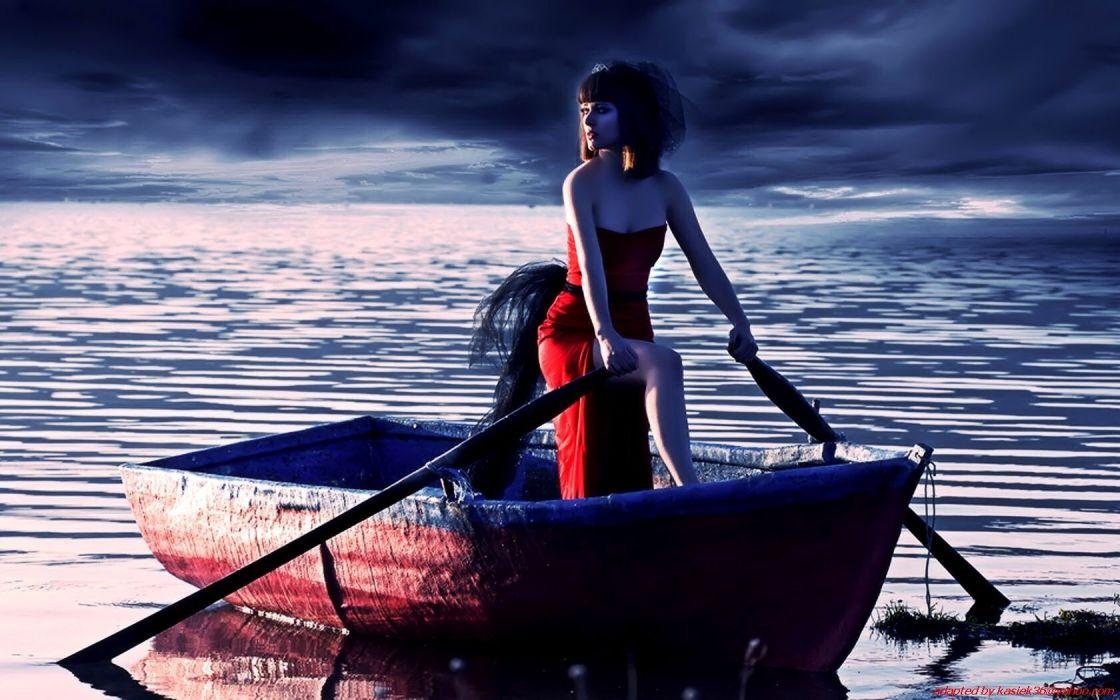 women boat gothic lake mood wallpaper