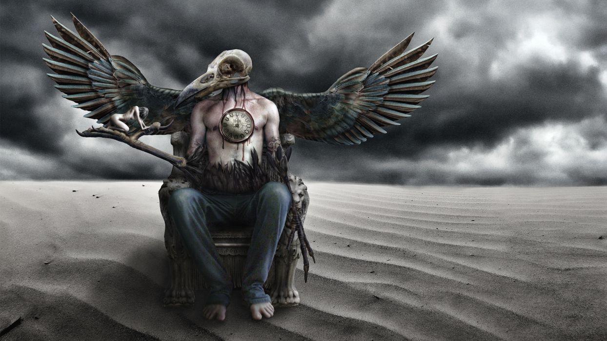 dark gothic cg digital fantasy skull occult wallpaper
