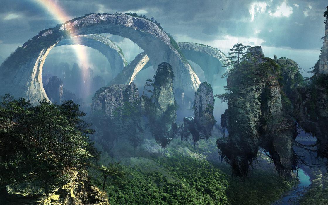 fantasy nature art magic island surreal dream wallpaper