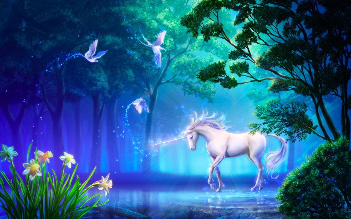 fantasy unicorn horse tree magic art flower wallpaper