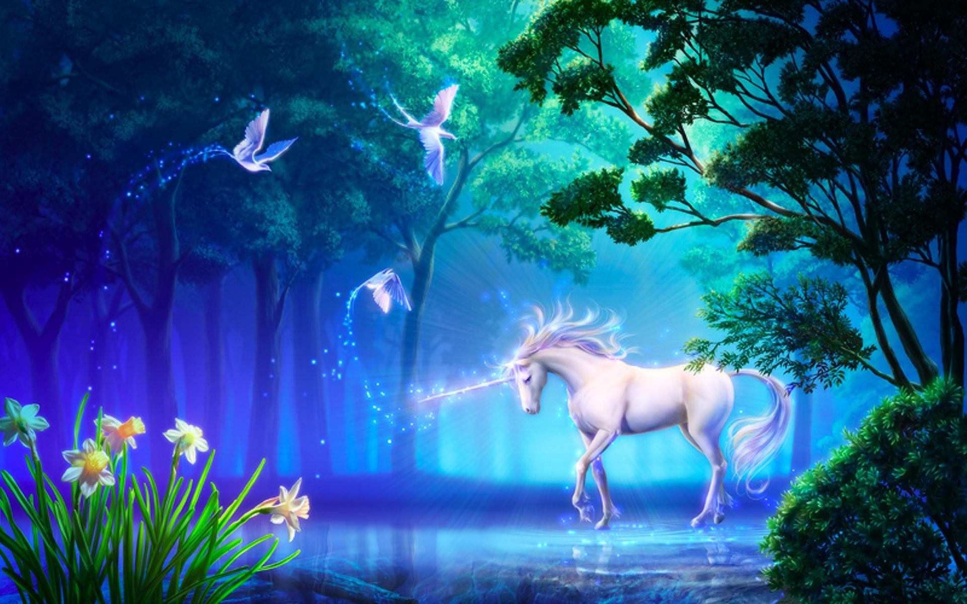 Fantasy unicorn horse tree magic art flower wallpaper background