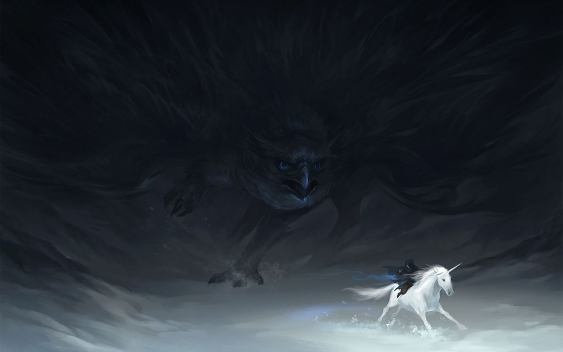 fantasy art unicorn dark gothic bird raven wallpaper