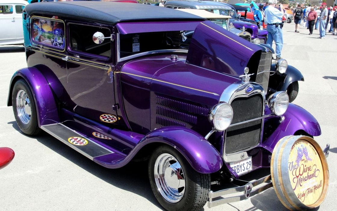 ford retro tuning hot rod purple wallpaper