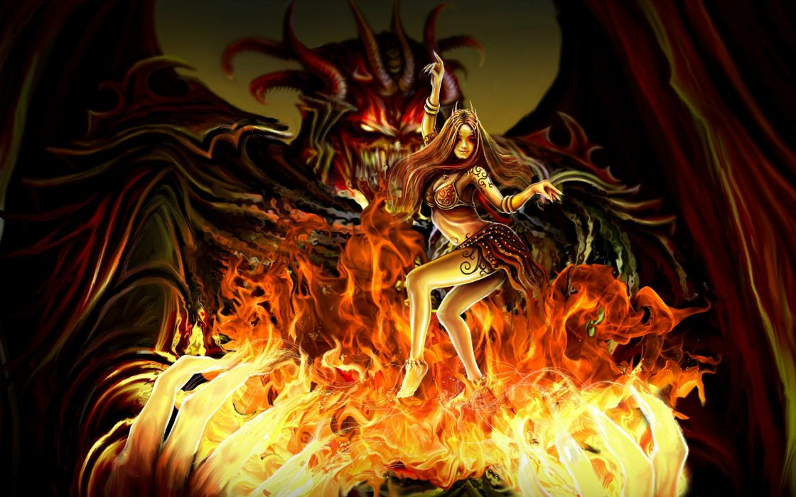 fantasy dark evil demon women fire drogon art wallpaper