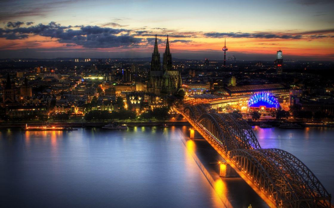 Cologne germany architecture buildings hdr bridges wallpaper