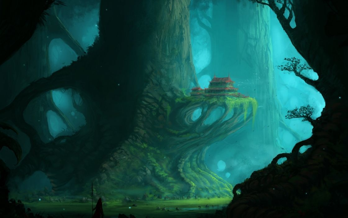 fantasy landscapes castle art forest people mood wallpaper