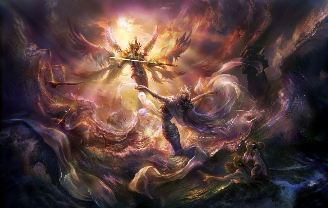 fantasy angels art magic wallpaper