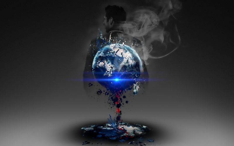 dark occult evil satan antichrist sci fi men planets earth nuclear explosion cg digital wallpaper