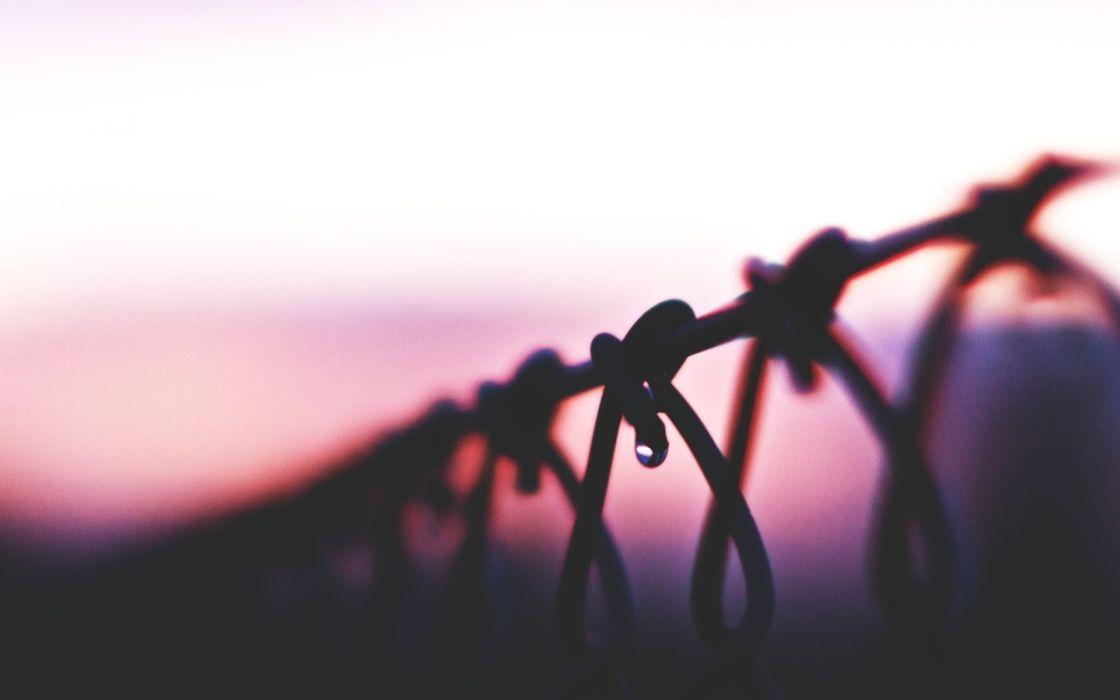 fence sunset drop macro wallpaper
