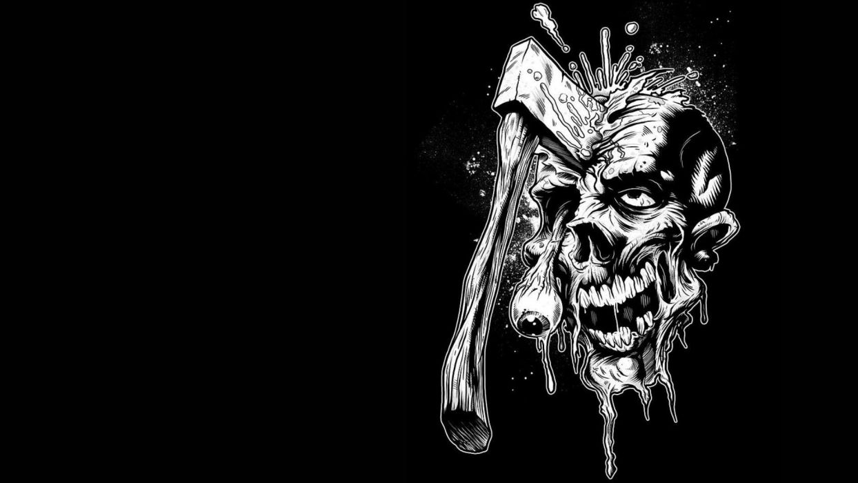 Dark Zombie Horror Skull Weapon Wallpaper 1920x1080 28910