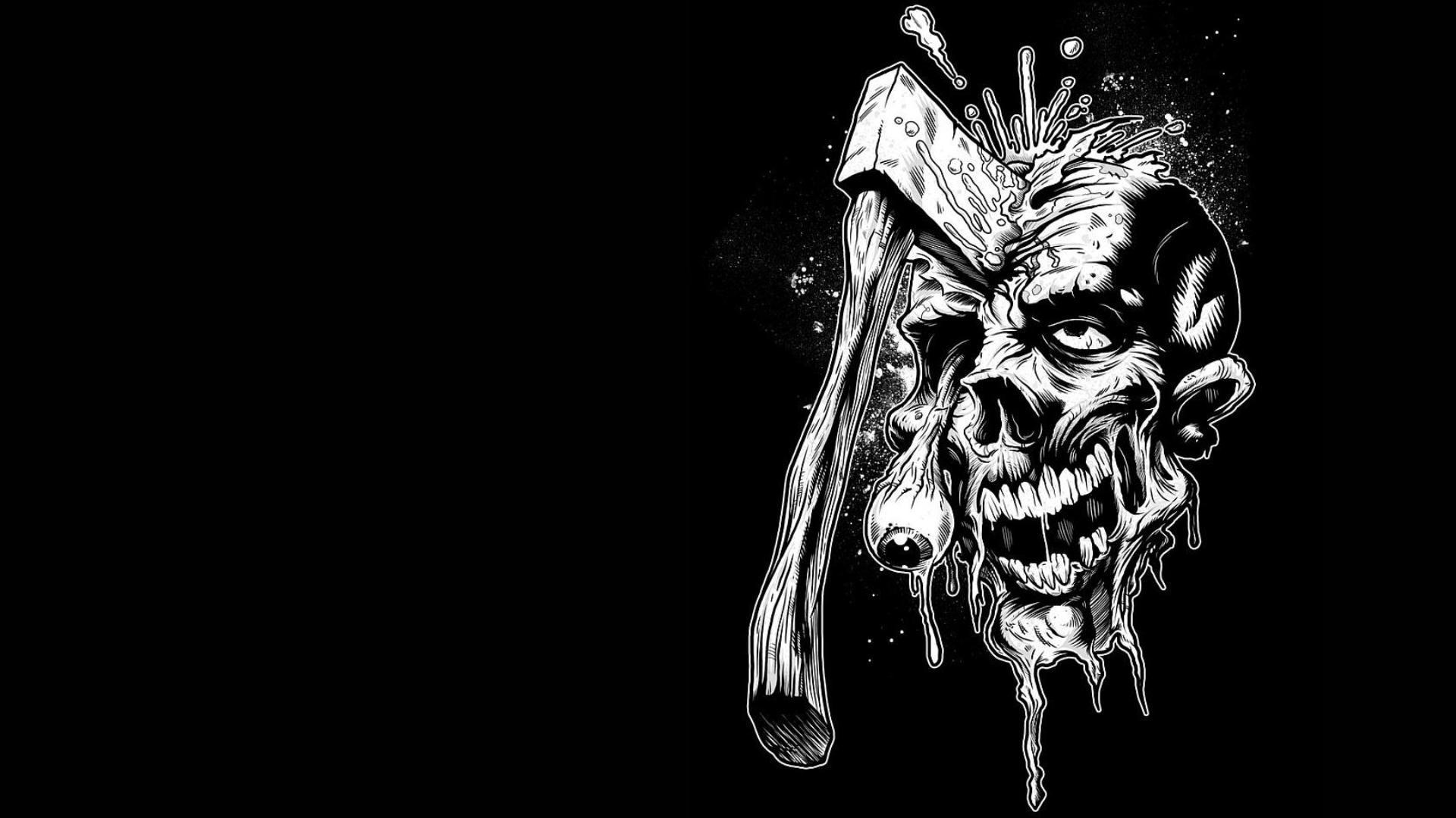 Dark zombie horror skull weapon wallpaper   1920x1080 ...