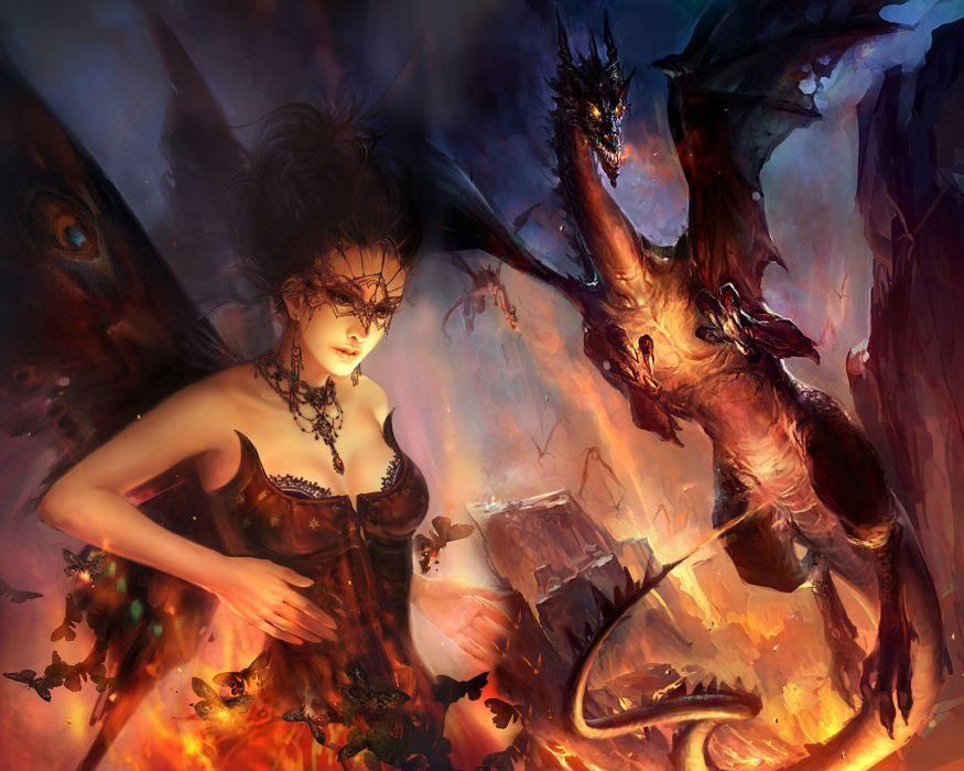fantasy fairy art dragons fire wallpaper