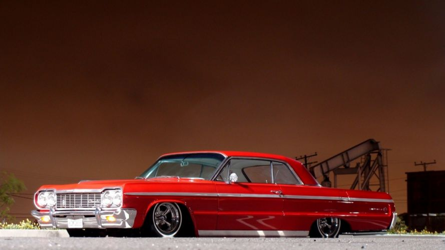 Chevrolet Impala tuning low red classic muscle cars wallpaper