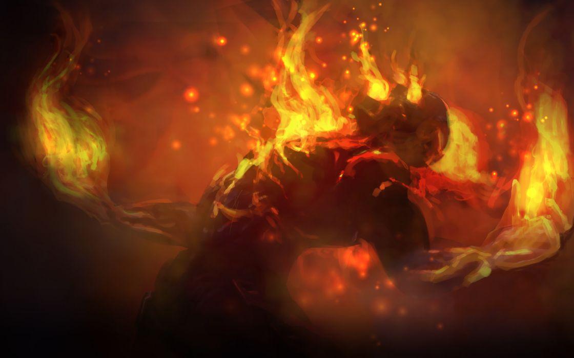 league of legends fantasy art demon fire wallpaper