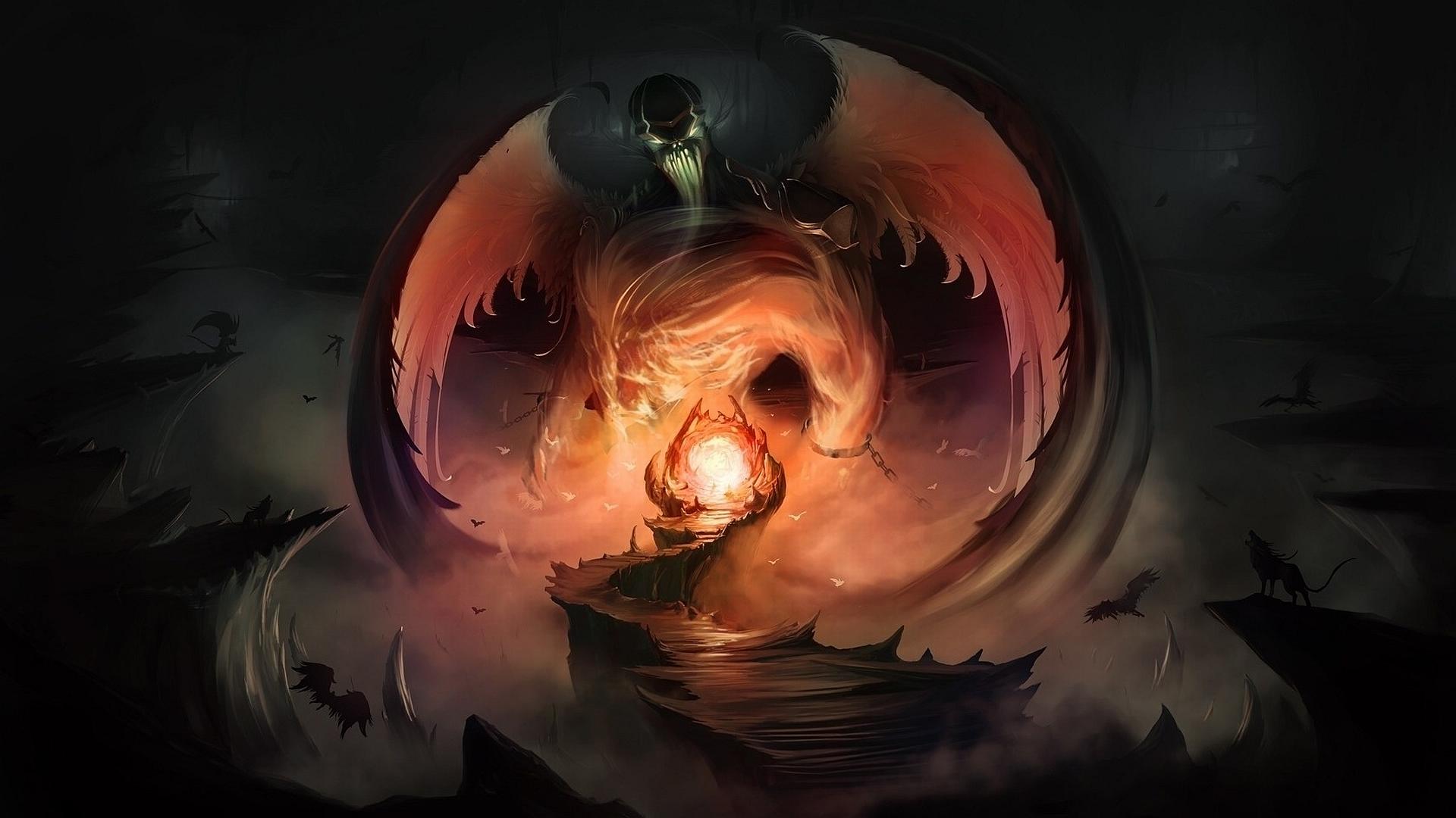 dark fantasy horror demon hell satan wallpaper background