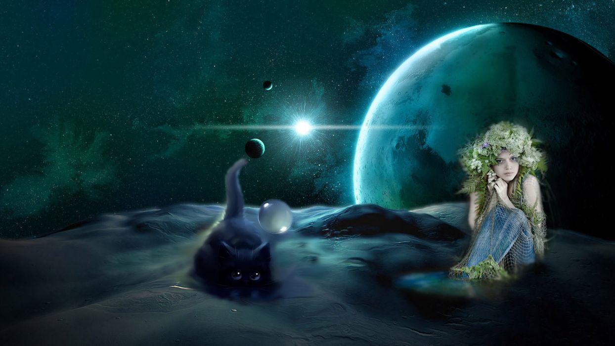 fantasy fairy gothic dark cats dream sci fi space plantes stars nebula wallpaper