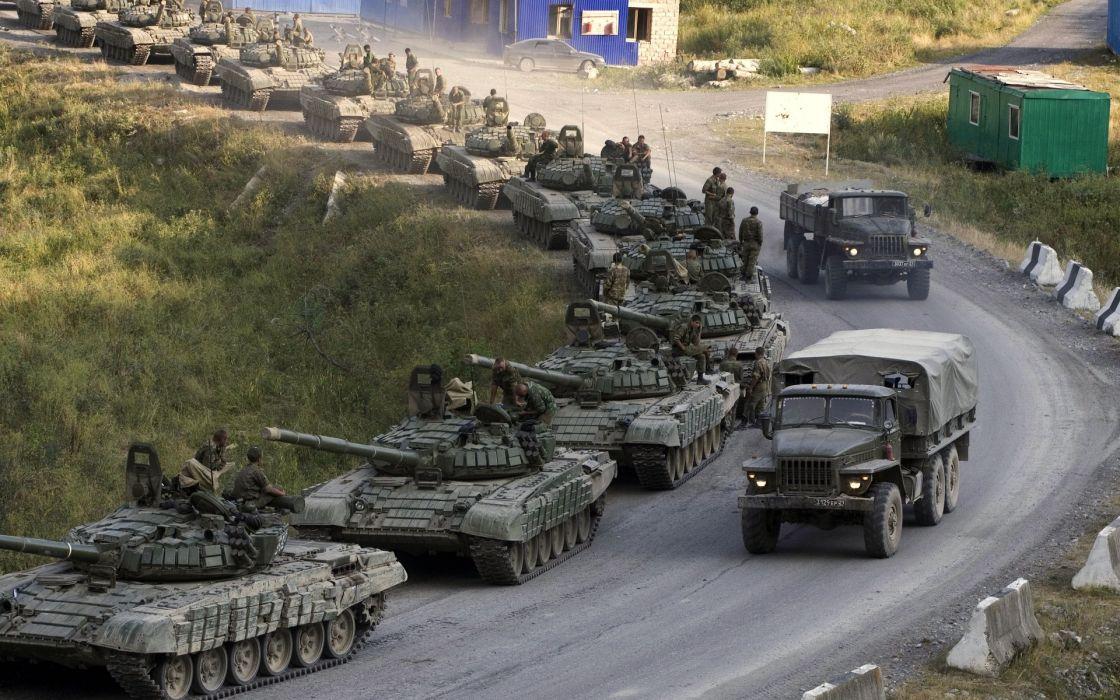 military tanks trucks road weapons guns army wallpaper