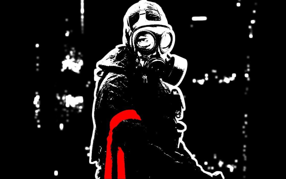 dark anarchy horror gas mask apocalyptic wallpaper