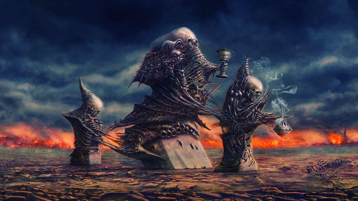 Dante's Inferno games dark horror gothic evil satan demons skeleton skull wallpaper