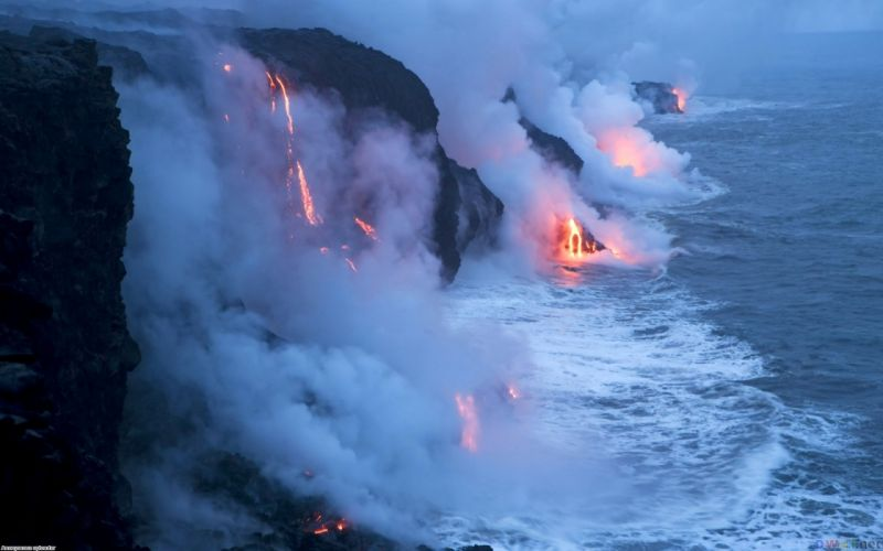 landscapes volcano lava ocean steam smoke wallpaper