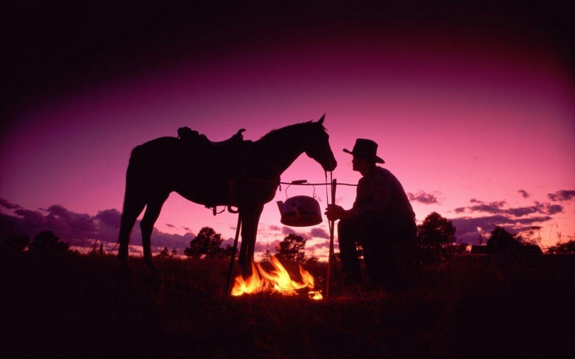 horses cowboy people sunset fire wallpaper