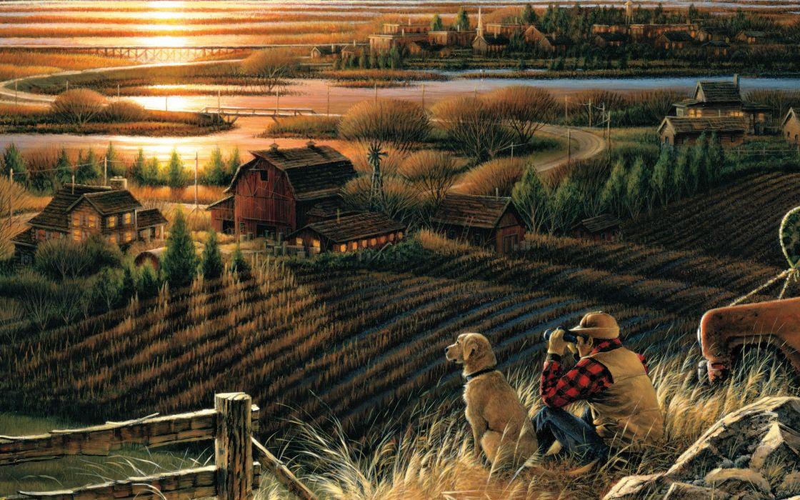 Terry Redlin Best Friends art autumn evening unset house river bridge golf dog binoculars migratorybirds wallpaper