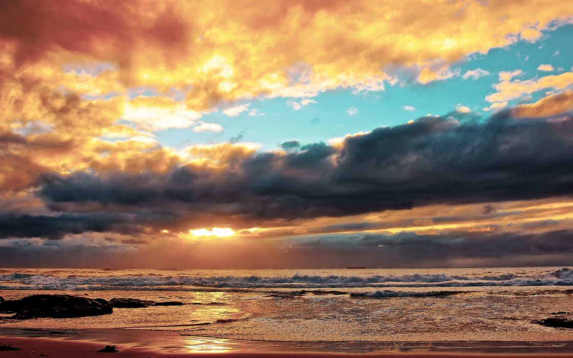 beaches ocean sky waves wallpaper