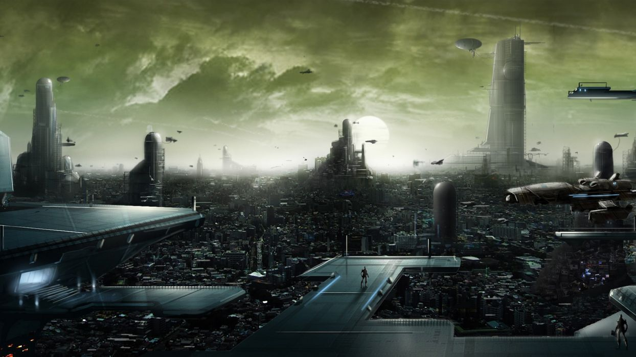 sci fi art cities futuristic wallpaper
