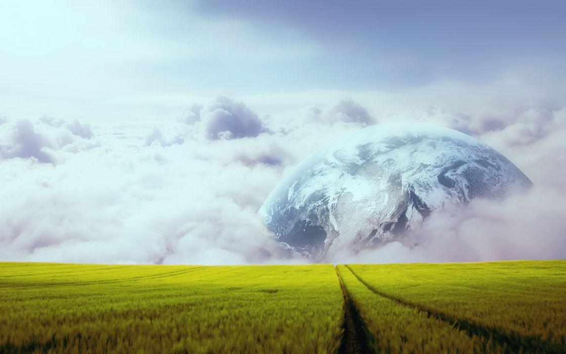 fantasy sci fi art cg planets dreanm sky grass wallpaper
