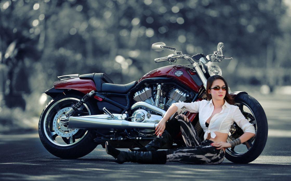 harley women model sexy mech roads wallpaper