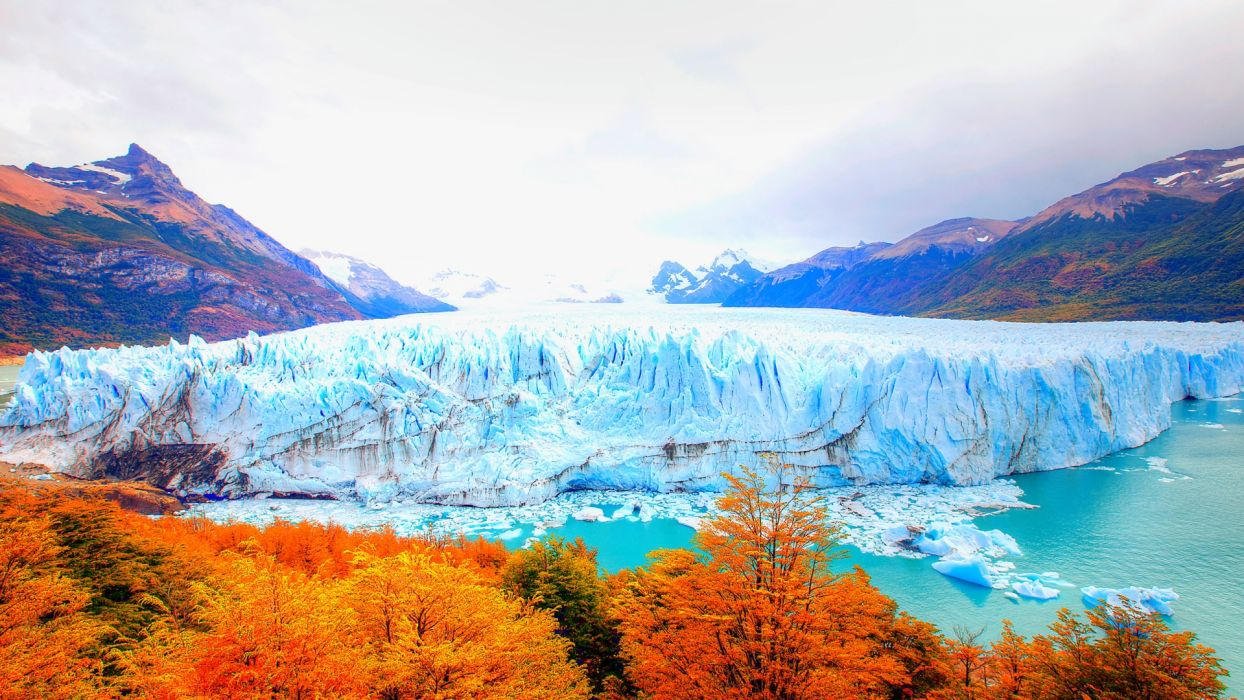 mountains landscape ice lakes trees leaves wallpaper