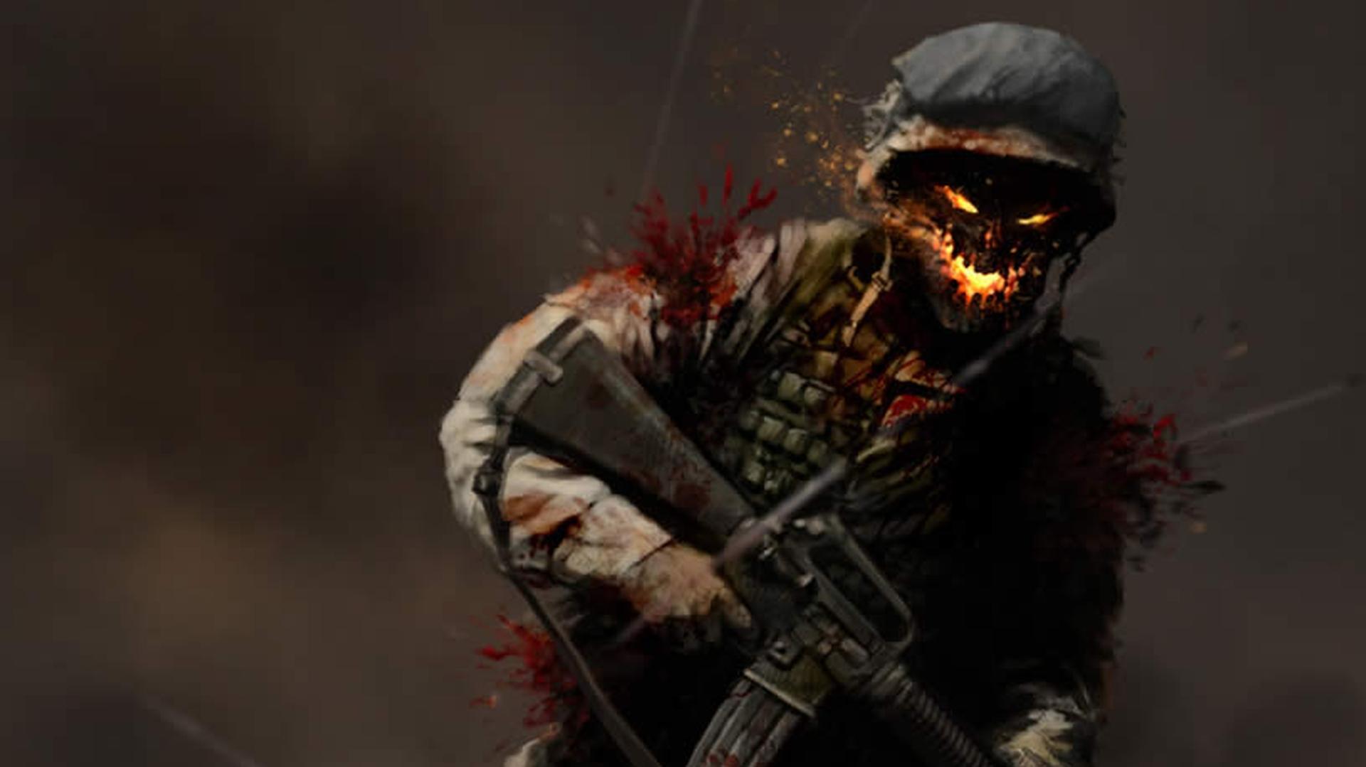dark warrior horror weapons guns art demon wallpaper