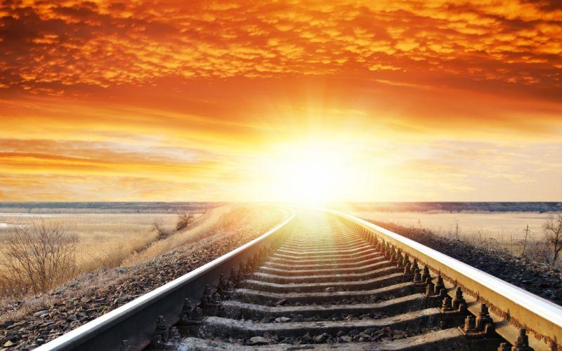 landscape sunset sunrise sky railroad tracks wallpaper