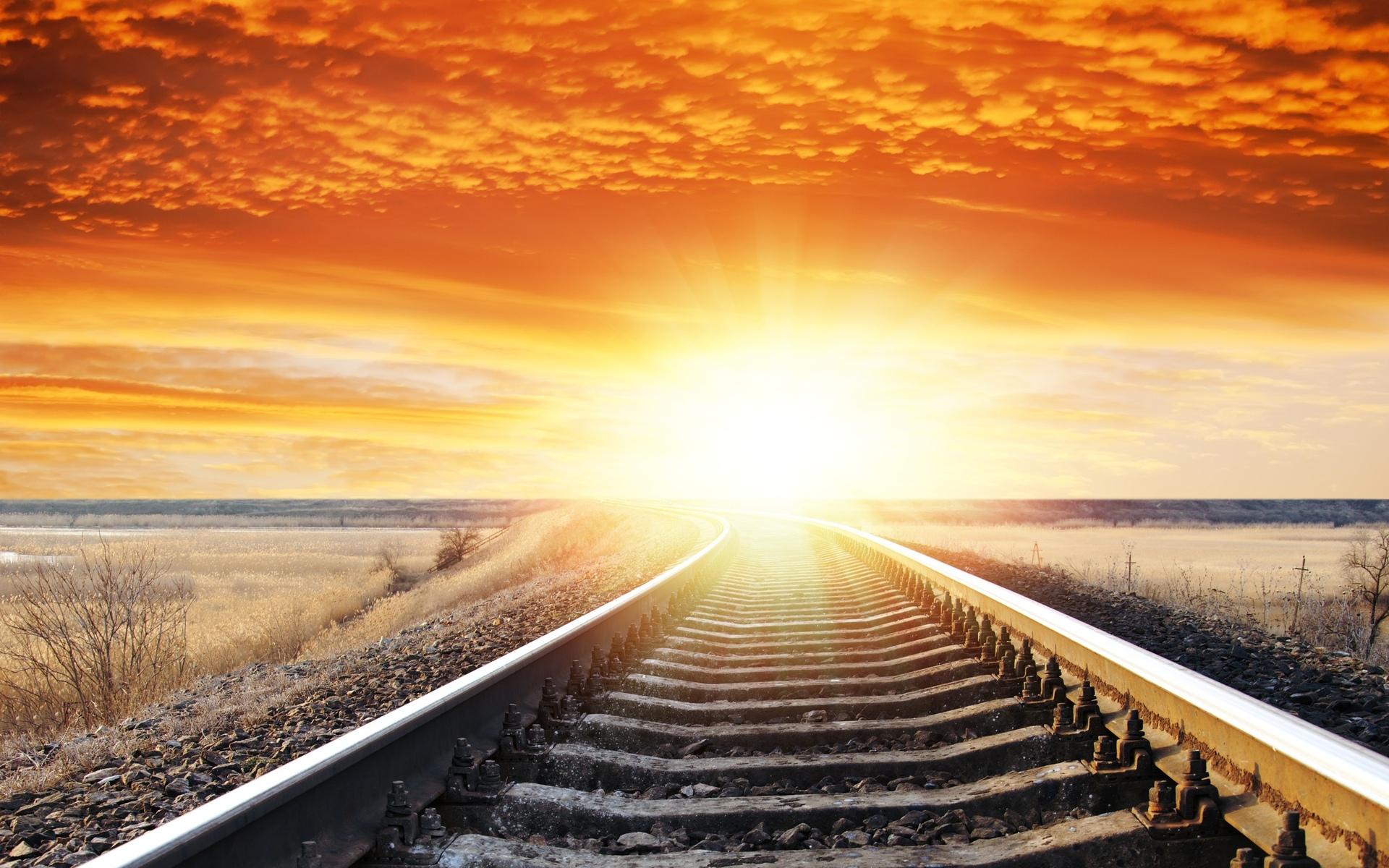 Tracks For Vehicles >> Landscape sunset sunrise sky railroad tracks wallpaper | 1920x1200 | 29036 | WallpaperUP
