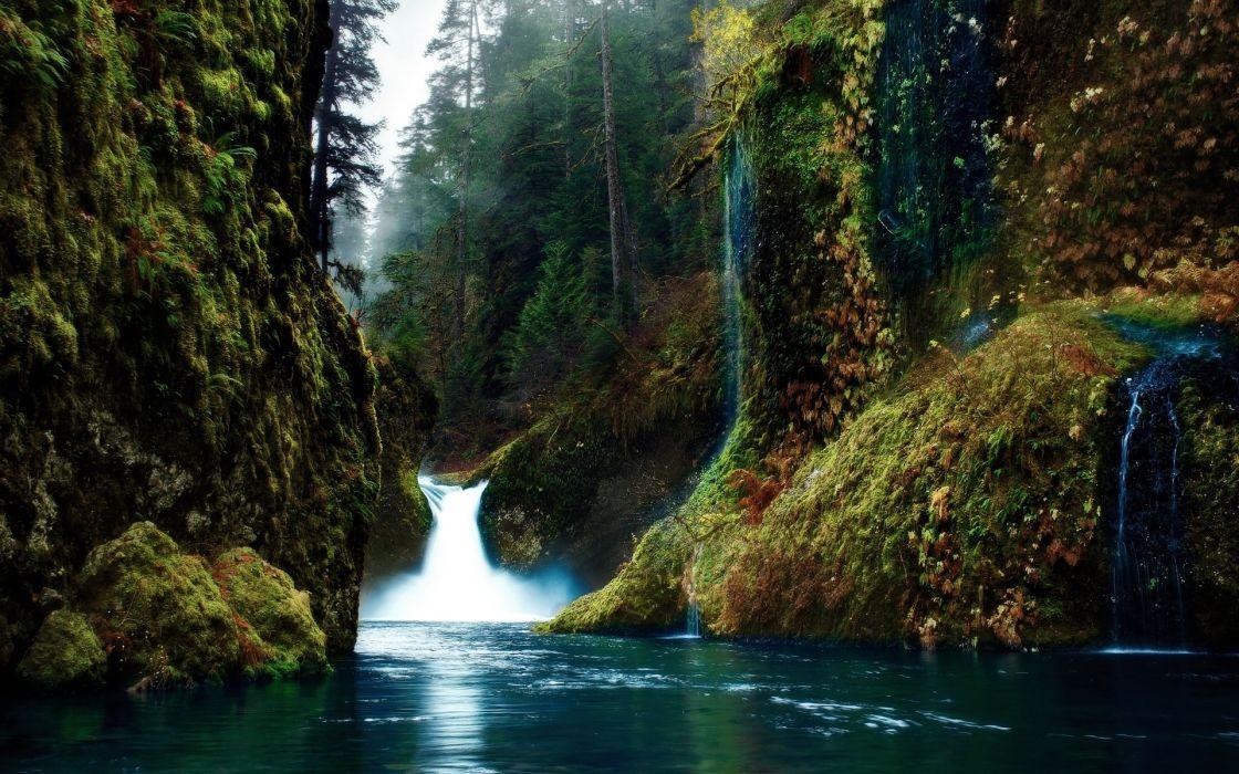 mountains river spray jungle wallpaper