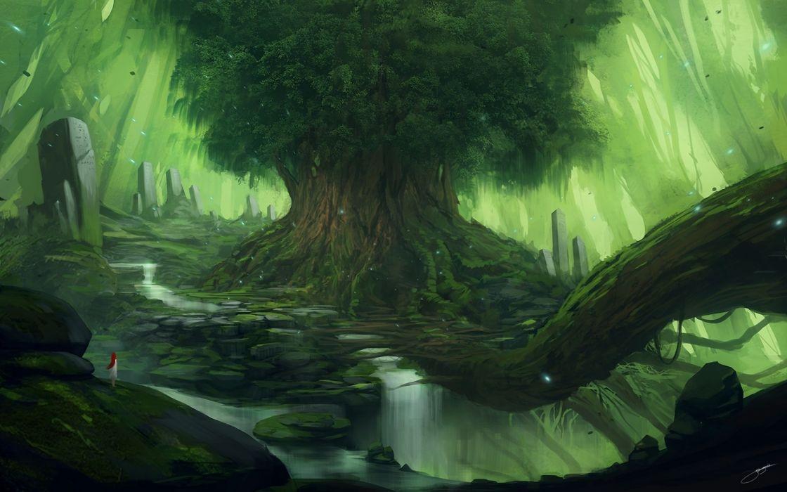 fantasy art landscapes trees waterfall wallpaper