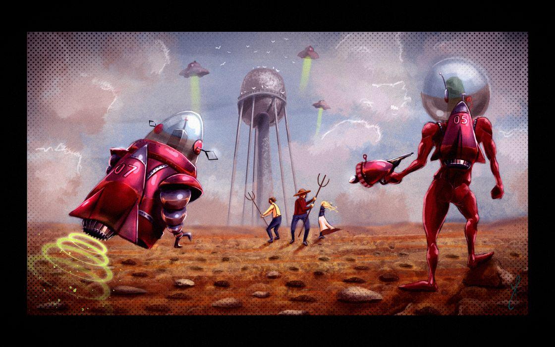 sci fi humor alien art people spaceship craft wallpaper