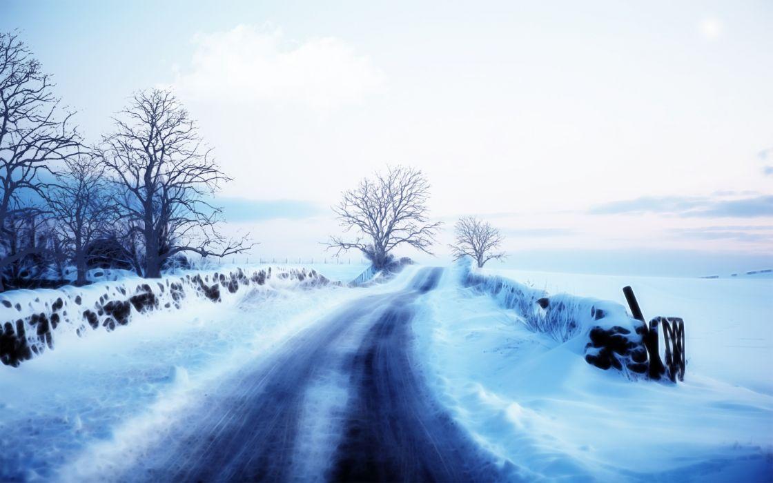 nature landscapes winter roads art wallpaper
