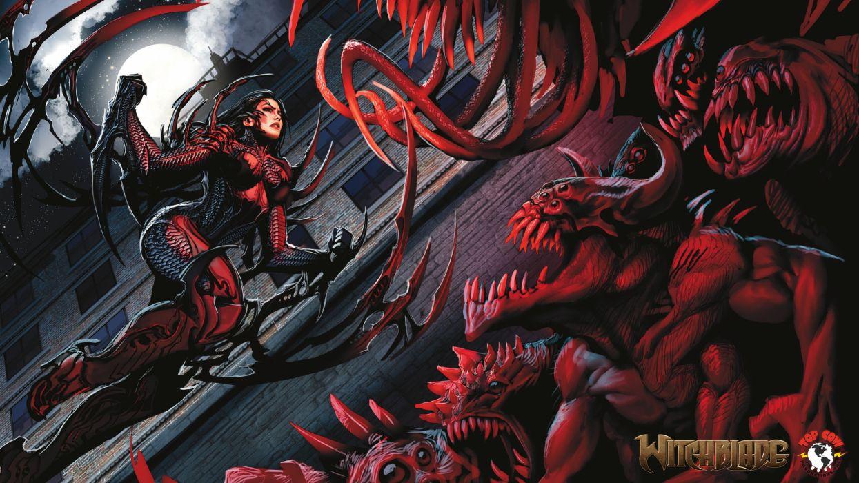 Witchblade comics warrior dark horror women art monster wallpaper