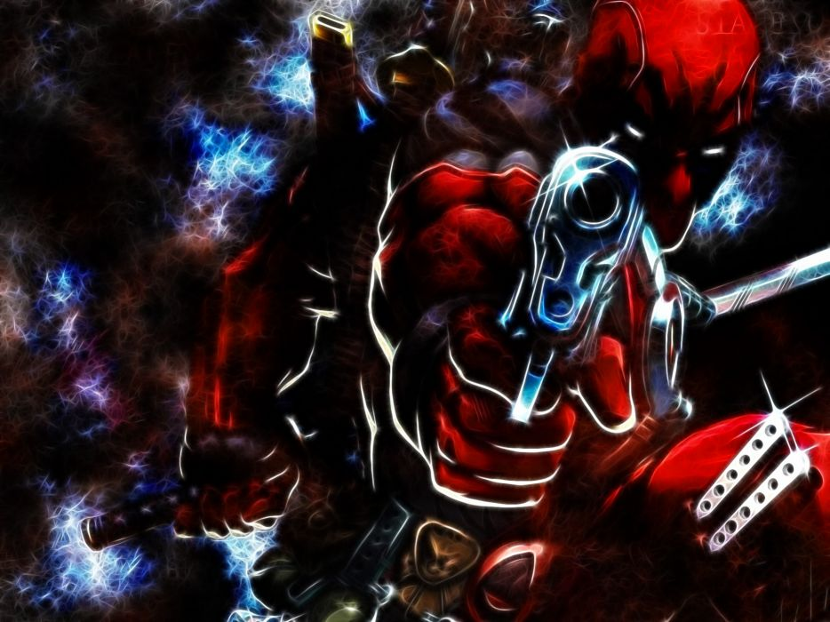 Deadpool comics art fractal weapons guns pistol pov wallpaper