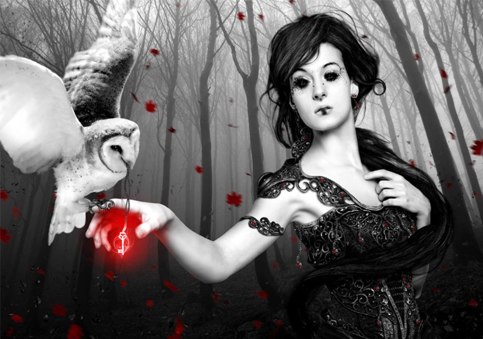 dark fantasy magic gothic women art cg womken trees mood wallpaper