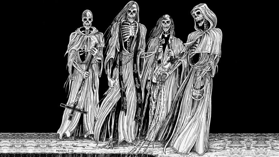 dark horror evil occult satan skull skeleton art wallpaper