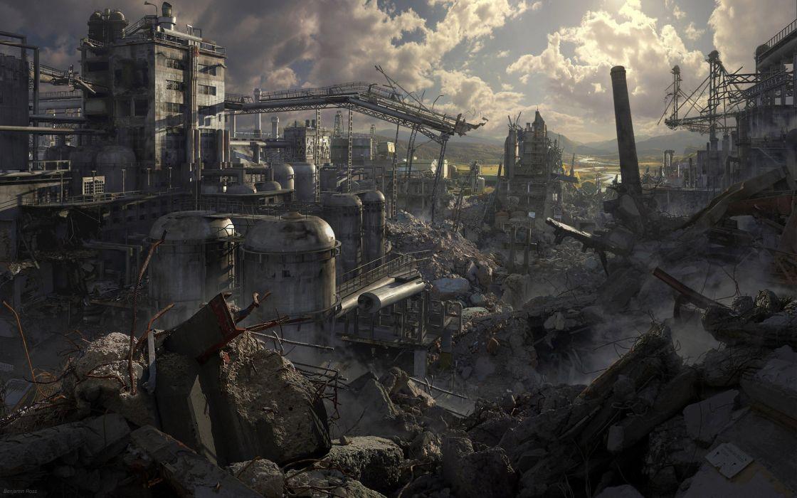 dark horror sci fi apocalyptic destruction art cg game buildings wallpaper
