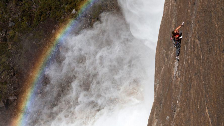 climbing waterfall drops wallpaper